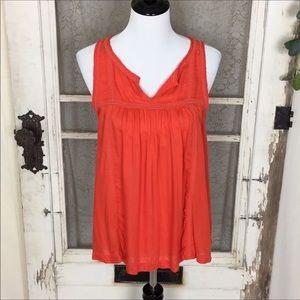 4/$25 Lucky Brand Orange Boho sleeveless top EE2